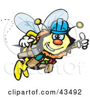 Clipart Illustration Of A Honey Bee Character Construction Worker Wearing A Hardhat by Dennis Holmes Designs #COLLC43492-0087