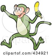 Royalty Free RF Clipart Illustration Of A Green Monkey Holding A Banana by Lal Perera