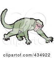 Royalty Free RF Clipart Illustration Of A Green Monkey Crawling by Lal Perera