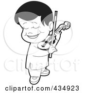 Royalty Free RF Clipart Illustration Of An Outlined Boy Playing A Violin