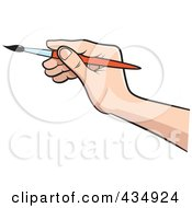 Royalty Free RF Clipart Illustration Of An Artists Hand Holding A Paintbrush by Lal Perera