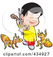 Royalty Free RF Clipart Illustration Of A Happy Boy Playing A Violin For Ants