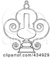 Royalty Free RF Clipart Illustration Of An Outlined Ornate Lamp by Lal Perera
