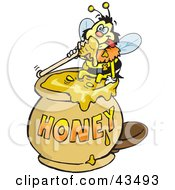 Honey Bee Character Sitting On The Rim Of A Honey Jar