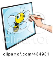 Royalty Free RF Clipart Illustration Of An Illustrators Hand Drawing A Bee by Lal Perera
