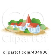 Royalty Free RF Clipart Illustration Of A House With A Steeple