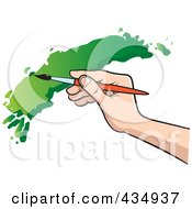 Royalty Free RF Clipart Illustration Of An Artists Hand Painting With Green Paint by Lal Perera