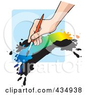 Royalty Free RF Clipart Illustration Of An Artists Hand Painting With Colorful Paint Over Blue by Lal Perera