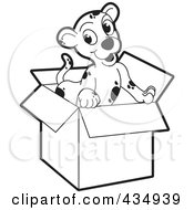 Royalty Free RF Clipart Illustration Of An Outlined Puppy In A Cardboard Box by Lal Perera