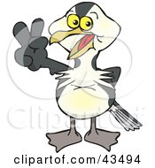 Clipart Illustration Of A Peaceful Shag Bird Smiling And Gesturing The Peace Sign