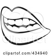 Royalty Free RF Clipart Illustration Of An Outlined Female Mouth With Lips And Teeth