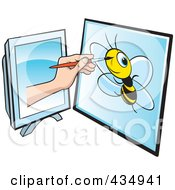 Royalty Free RF Clipart Illustration Of An Illustrators Hand Drawing A Bee On A Tablet