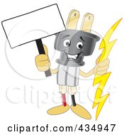 Royalty Free RF Clipart Illustration Of An Electric Plug Mascot Holding A Blank Sign by Toons4Biz