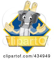 Royalty Free RF Clipart Illustration Of An Electric Plug Mascot Logo With A Blue Diamond And Gold Banner by Toons4Biz