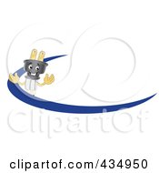 Royalty Free RF Clipart Illustration Of An Electric Plug Mascot Logo With A Blue Dash by Toons4Biz