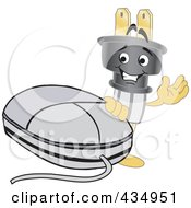 Royalty Free RF Clipart Illustration Of An Electric Plug Mascot With A Computer Mouse by Toons4Biz