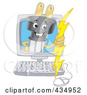 Royalty Free RF Clipart Illustration Of An Electric Plug Mascot On A Computer Screen by Toons4Biz