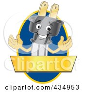 Royalty Free RF Clipart Illustration Of An Electric Plug Mascot Logo With A Blue Oval And Gold Banner by Toons4Biz