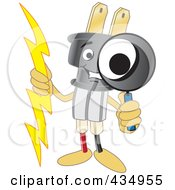 Royalty Free RF Clipart Illustration Of An Electric Plug Mascot Using A Magnifying Glass by Toons4Biz