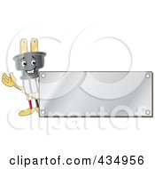 Royalty Free RF Clipart Illustration Of An Electric Plug Mascot Logo With A Silver Plaque by Toons4Biz