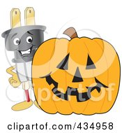 Royalty Free RF Clipart Illustration Of An Electric Plug Mascot With A Halloween Pumpkin by Toons4Biz