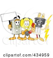 Royalty Free RF Clipart Illustration Of An Electric Plug Mascot With A Light Bulb And Switch by Toons4Biz