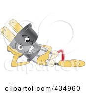 Royalty Free RF Clipart Illustration Of An Electric Plug Mascot Reclined