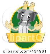 Royalty Free RF Clipart Illustration Of An Electric Plug Mascot Logo With A Green Oval And Gold Banner by Toons4Biz