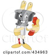 Royalty Free RF Clipart Illustration Of An Electric Plug Mascot Holding A Phone by Toons4Biz