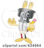 Royalty Free RF Clipart Illustration Of An Electric Plug Mascot Holding A Pencil by Toons4Biz