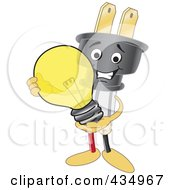 Royalty Free RF Clipart Illustration Of An Electric Plug Mascot Holding A Light Bulb by Toons4Biz