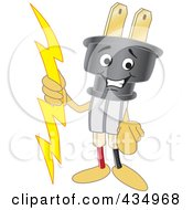 Royalty Free RF Clipart Illustration Of An Electric Plug Mascot Pointing Outwards by Toons4Biz
