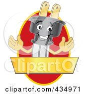 Royalty Free RF Clipart Illustration Of An Electric Plug Mascot Logo With A Red Oval And Gold Banner by Toons4Biz