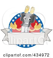 Royalty Free RF Clipart Illustration Of An American Electric Plug Mascot Logo With A Blank Banner by Toons4Biz