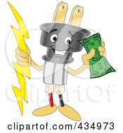 Royalty Free RF Clipart Illustration Of An Electric Plug Mascot Holding Cash by Toons4Biz