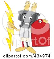 Royalty Free RF Clipart Illustration Of An Electric Plug Mascot Holding A Red Price Tag