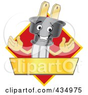 Royalty Free RF Clipart Illustration Of An Electric Plug Mascot Logo With A Red Diamond And Gold Banner by Toons4Biz