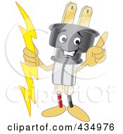 Royalty Free RF Clipart Illustration Of An Electric Plug Mascot Pointing Upwards by Toons4Biz