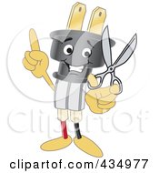 Royalty Free RF Clipart Illustration Of An Electric Plug Mascot Holding Scissors