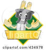 Royalty Free RF Clipart Illustration Of An Electric Plug Mascot Logo With A Green Diamond And Gold Banner by Toons4Biz