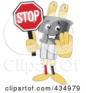 Royalty Free RF Clipart Illustration Of An Electric Plug Mascot Holding A Stop Sign