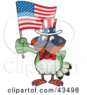 Patriotic Uncle Sam Hummingbird Waving An American Flag On Independence Day