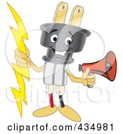 Royalty Free RF Clipart Illustration Of An Electric Plug Mascot Holding A Megaphone by Toons4Biz