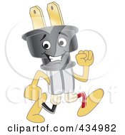 Royalty Free RF Clipart Illustration Of An Electric Plug Mascot Running by Toons4Biz