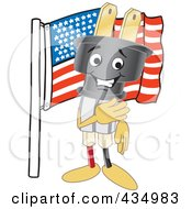 Royalty Free RF Clipart Illustration Of An Electric Plug Mascot With An American Flag by Toons4Biz