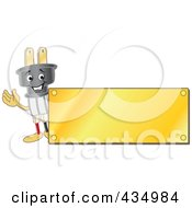Royalty Free RF Clipart Illustration Of An Electric Plug Mascot Logo With A Gold Plaque by Toons4Biz