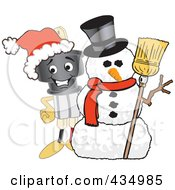 Royalty Free RF Clipart Illustration Of An Electric Plug Mascot With A Snowman by Toons4Biz