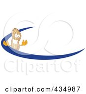 Royalty Free RF Clipart Illustration Of A Peanut Mascot Logo With A Blue Dash