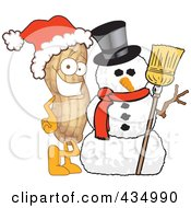 Royalty Free RF Clipart Illustration Of A Peanut Mascot With A Snowman