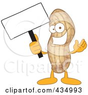 Royalty Free RF Clipart Illustration Of A Peanut Mascot Holding A Blank Sign